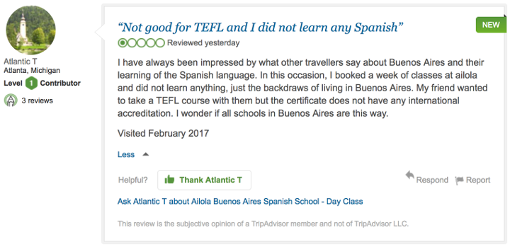 Not good for TEFL and did not learn any Spanish by Atlantic T